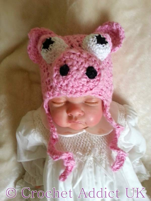 Baby Pig Hat Newborn to 12 months crochet pattern