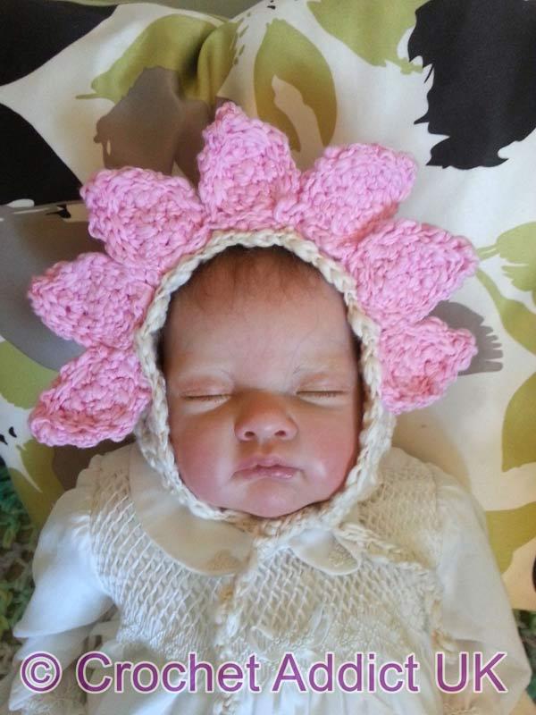 Springtime Flower Bonnet Newborn-12 months crochet pattern