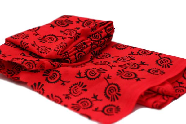 Red Thistle hand printed cotton fabric