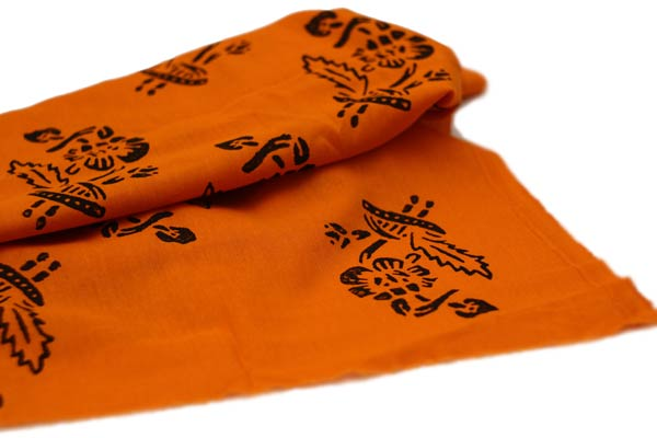 Orange Garden hand printed cotton fabric
