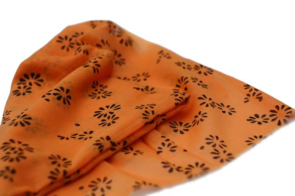 Orange Daisy hand printed cotton fabric